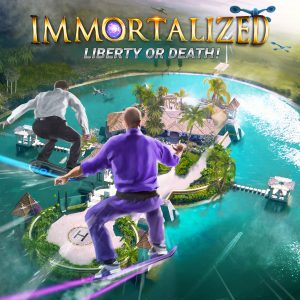 Awesome Story Games Poster – Immortalized – Flying Hoverboard Over the Moat