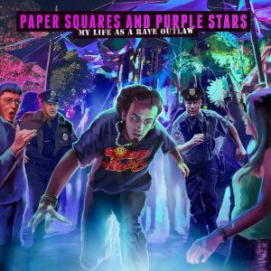 Awesome Story Games Poster – Paper Squares and Purple Stars – Rave Party