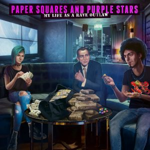 Awesome Story Games Poster – Paper Squares and Purple Stars – Drug Dealing